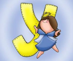 Letter Y with an angel puzzle