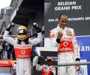 Lewis Hamilton celebrates his victory at Spa-Francorchamps, Belgium Grand Prix 2010 puzzle