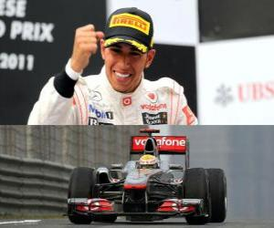Lewis Hamilton celebrates his victory in the Grand Prix of China (2011) puzzle