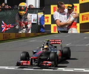 Lewis Hamilton celebrates his victory in the Grand Prix of Canada (2012) puzzle