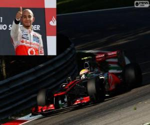 Lewis Hamilton celebrates his victory in the Grand Prix of Italy 2012 puzzle