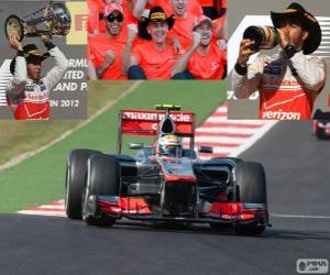 Lewis Hamilton celebrates his victory at the Grand Prix of United States 2012 puzzle