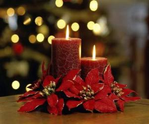 Lighted candles as a centerpiece decorated with Christmas flowers puzzle