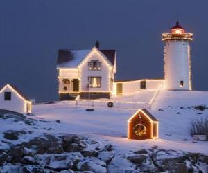Lighthouse and lighthouse keeper's house with Christmas decorations puzzle