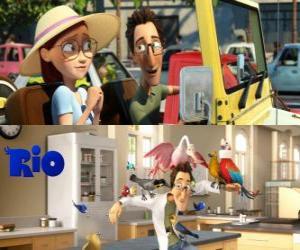 Linda and Tulio, humans in the film Rio puzzle
