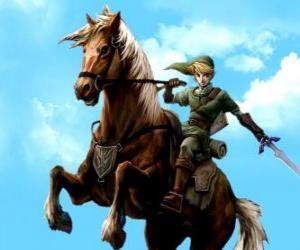 Link on horseback with a sword in the adventures of The Legend of Zelda video game puzzle