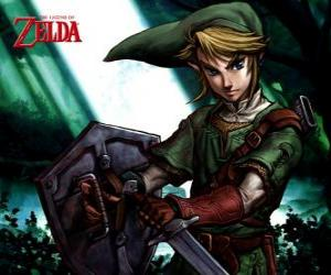 Link with sword and shield in the adventures of The Legend of Zelda video game puzzle