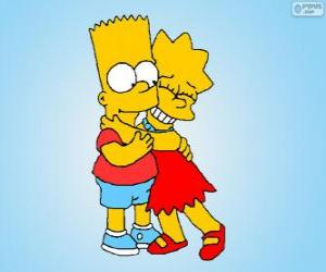 Lisa and Bart embraced each other as good brothers puzzle