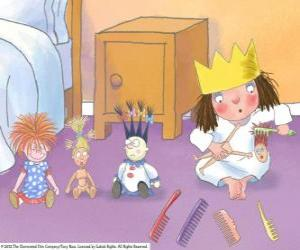 Little Princess combing their dolls puzzle