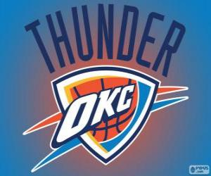 Logo of Oklahoma City Thunder, NBA team. Northwest Division, Western Conference puzzle