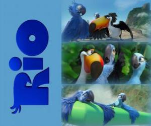 Logo of Rio the movie with three of its protagonists: the macaws Blu, Jewel and the tucan Rafael puzzle