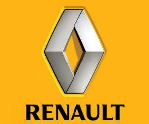 Logo Renault. French car brand puzzle