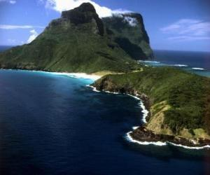 Lord Howe Islands, this archipelago is an example of generating a set of isolated oceanic islands by undersea volcanic activity. Australia. puzzle
