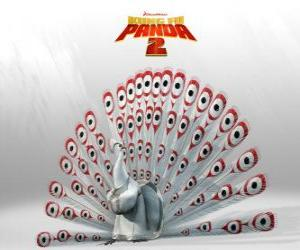 Lord Shen, an albino peacock is the main enemy in the adventures of the movie Kung Fu Panda 2 puzzle
