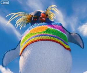Lovelace, a strange penguin with a colored wool sweater, Happy Feet 2 puzzle