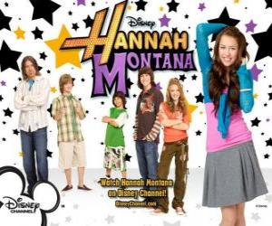 """Main characters from Hannah Montana, Miley Ray Stewart, Lillian """"Lilly"""" Truscott, Oliver Oken, Rod Stewart Jackson, Robby Ray Stewart and Rico Suave puzzle"""