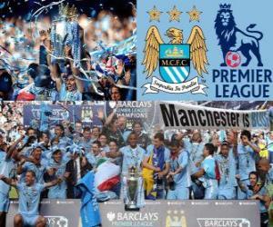 Manchester City, champion Premier League 2011-2012, Football League from England puzzle