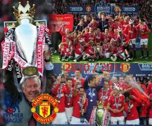 Manchester United, champion of the english football league. Premier League 2010-2011 puzzle