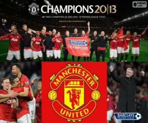 Manchester United, champion Premier League 2012-2013, Football League from England puzzle