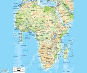 Map of Africa. The African continent is located between the Atlantic, Indian and Pacific oceans. It is also bordered by the Mediterranean Sea and the Red Sea puzzle