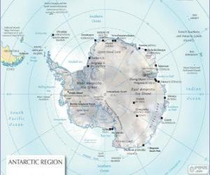 Map of Antarctica. The South Pole is on the Antarctic continent puzzle