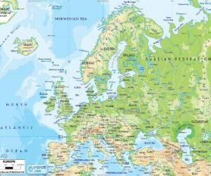 Map of Europe. The European continent extends through Russia to the Ural mountains puzzle