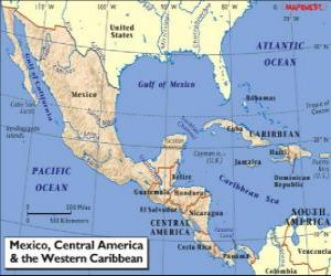 Map of Mexico and Central America. Central America, subcontinent connecting North America and South America puzzle
