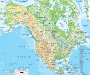 Map of North America. North America comprising the countries of Canada, United States and Mexico puzzle