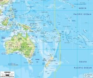 Map of Oceania. Continent formed by Australia and other islands and archipelagos in the Pacific Ocean puzzle
