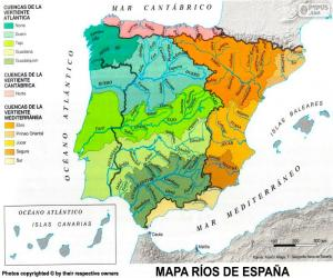 Map of rivers in Spain puzzle