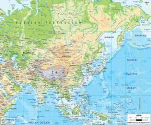 Map of Russia and Asia. The Asian continent is the largest and most populous of the Earth puzzle