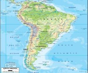 Map of South America. The continent is also considered a subcontinent of the Americas puzzle