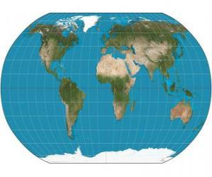 Map of the Earth. Map with the Robinson projection which allows the representation of the whole world puzzle