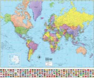 Map with the boundaries of the countries of the world puzzle
