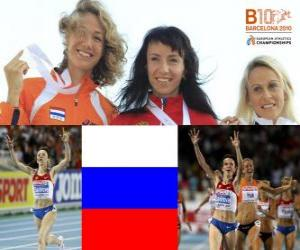 Maria Savinov champion at 800 m, Yvonne Hak and Jennifer Meadows (2nd and 3rd) of the European Athletics Championships Barcelona 2010 puzzle