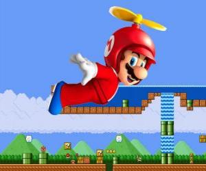 Mario flying with the hull with propeller puzzle