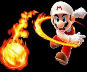 Mario throwing a fireball puzzle