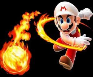 Mario throwing a fireball puzzle