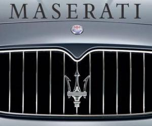 Maserati logo, Italian sports car brand puzzle