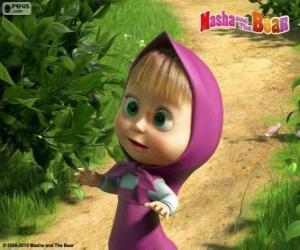 Masha, the little girl, the main character of Masha and the Bear puzzle
