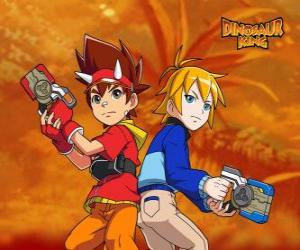 Max and Rex, two of the protagonists in Dinosaur King puzzle