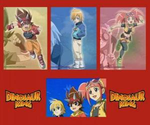 Max, Rex and Zoe, the experts on dinosaurs and the protagonists of the serie Dinosaur King puzzle