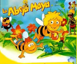Maya the Bee and her friend Willi under the gaze of Flip and other characters puzzle