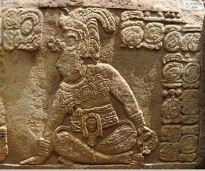 Mayan drawings carved on a stone puzzle