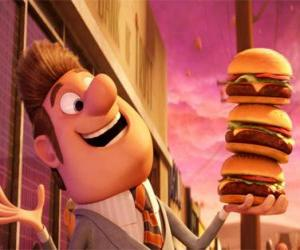 Mayor happy with three burgers in hand puzzle