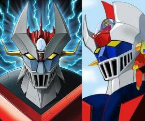 Mazinger Z, images of the head of the Super Robot puzzle