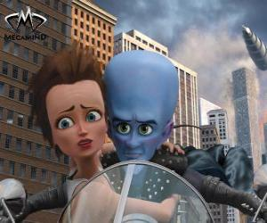 Megamind and Roxanne on motorbike puzzle