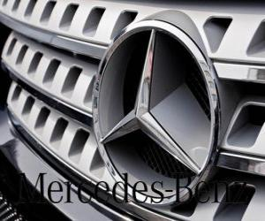 Mercedes logo, Mercedes-Benz, German brand vehicles. Three-pointed star of Mercedes puzzle