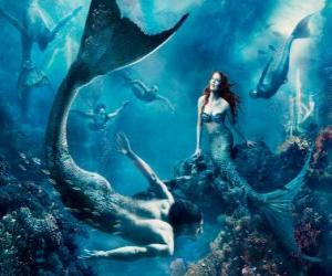 Mermaids or a siren on the seabed puzzle