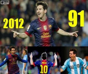 Messi finishes 2012 with 91 goals puzzle